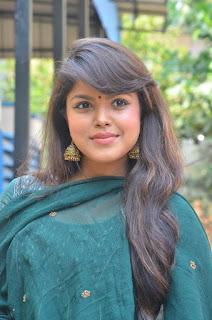 Pooja Devariya Pictures in Green Salwar Kameez at Mo Movie Teaser Launch