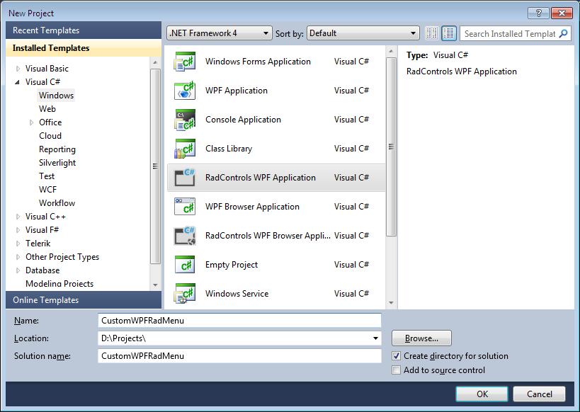 Microsoft  NET: Customize Telerik WPF RadMenu