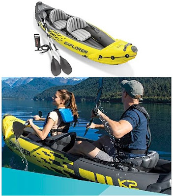Intex Kayak - Inflatable Small Boat Explorer with Aluminum Oars