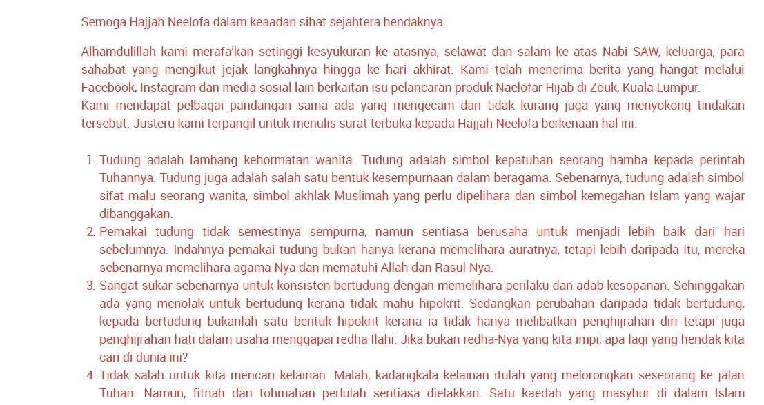 Surat Terbuka Mufti WP kepada Neelofa (& untuk kita juga) ~!