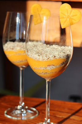 kaki, persimmon, limun, lemon, bademi, almonds, dessert