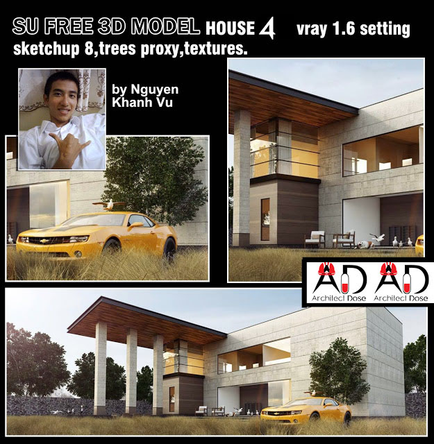 Great Free 3D sketchup model - vray  - moderne house 4