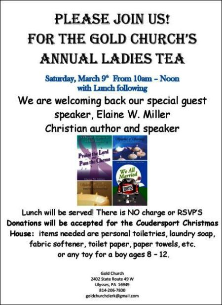 3-9 Ladies Tea, Gold Church
