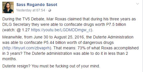 'Duterte Resign? You Must Be F*cking Out Of Your Mind' Sass Sasot Slams Mar Roxas!