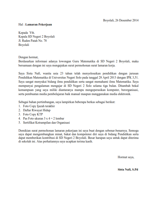 Surat%2BLamaran%2BKerja%2BNgajar Contoh Application Letter Bahasa Inggris Doc on online application letter, contoh application form, contoh curriculum vitae, test application letter,
