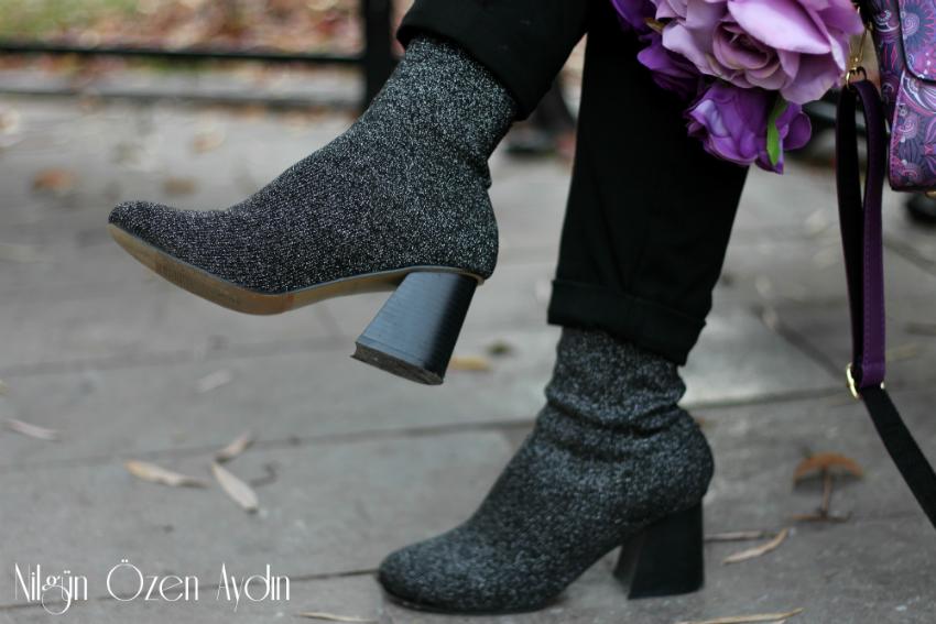 İnsan figürlü çanta-kişiye özel mor kutuda sabun gül-çorap bot-moda blogu-lila kombin-fashion blogger