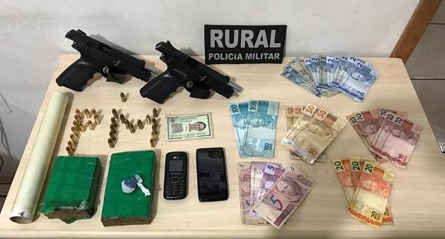 Iretama: Polícia apreende duas pistolas 9 mm, munições, drogas e dinheiro em Iretama
