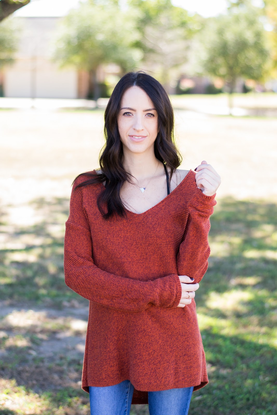 Old Navy Knit Sweater paired with dainty jewels and skinny jeans