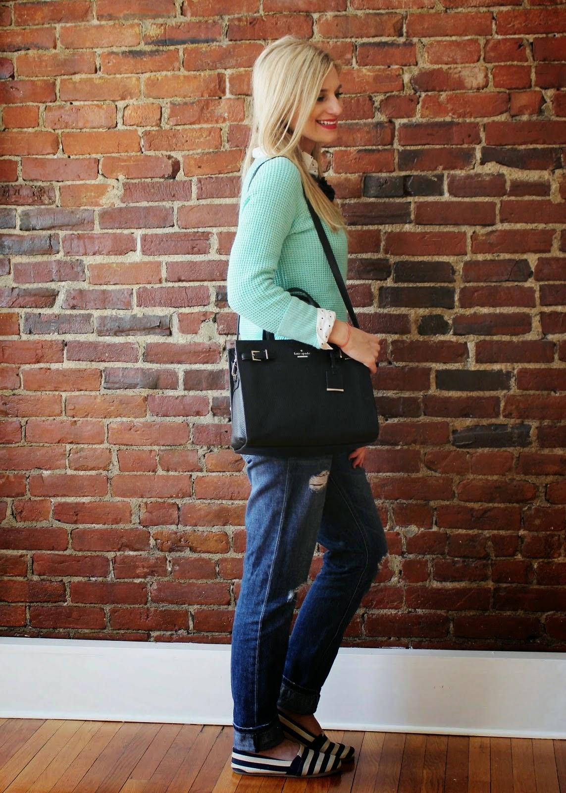 bijulnei - Jcrew mint sweater and Kate Spade handbag