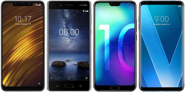 Pocophone F1 vs Nokia 8 vs Honor 10 vs LG V30