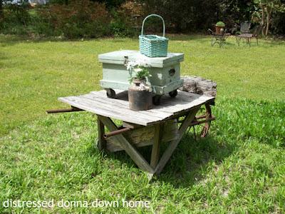 primitive, tool chest, blue patina