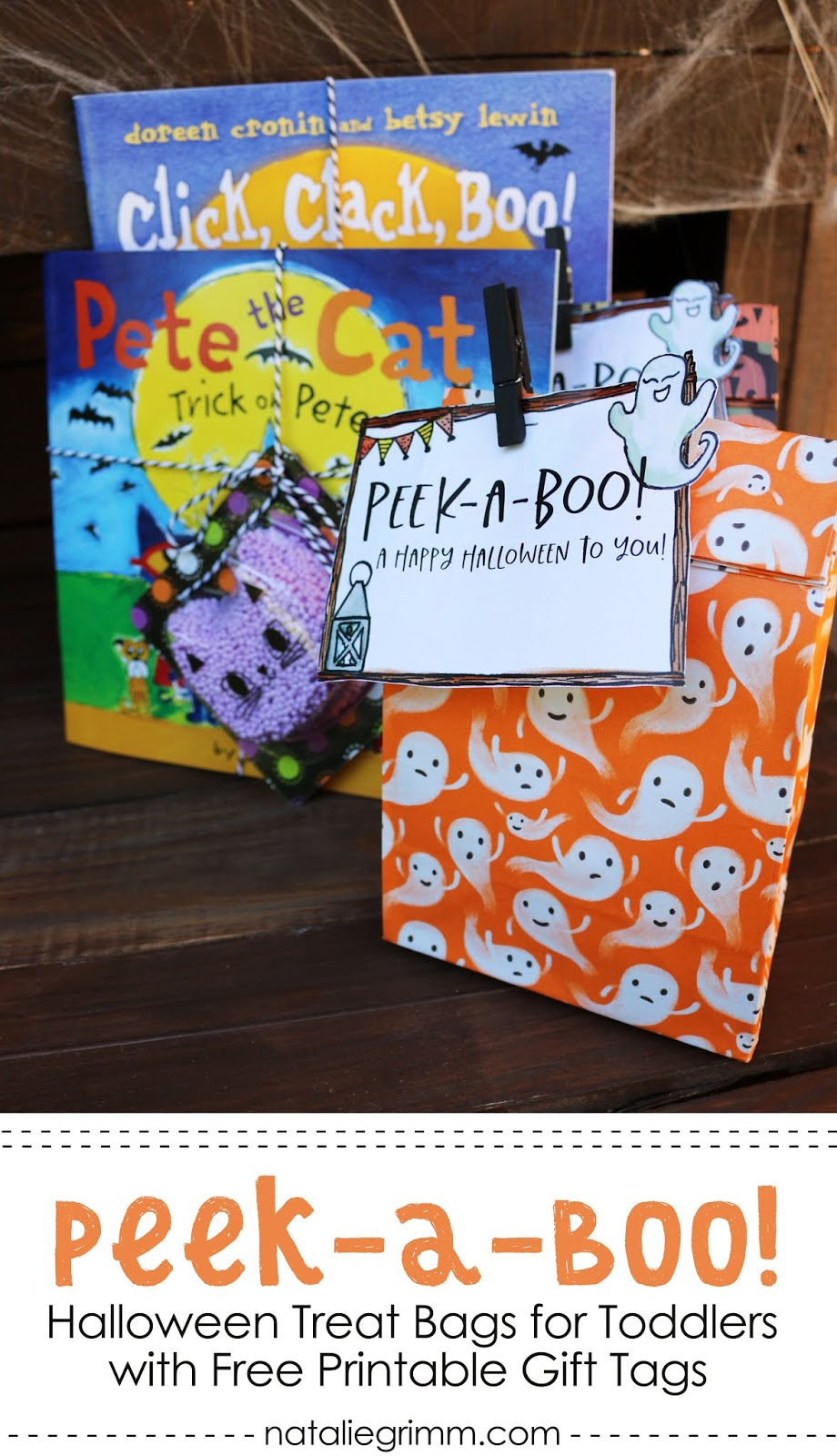 peek-a-boo halloween toddler treat bags and presents with free gift