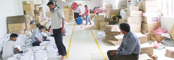 Workers are packaging in garment industry