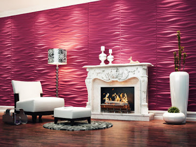 Decorative wall Panels 3d for living room with fireplace