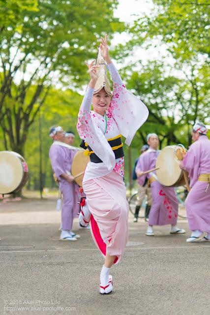 阿波踊り、紅連の女踊りの彩香さんを小金井子供フェスタで撮影した写真