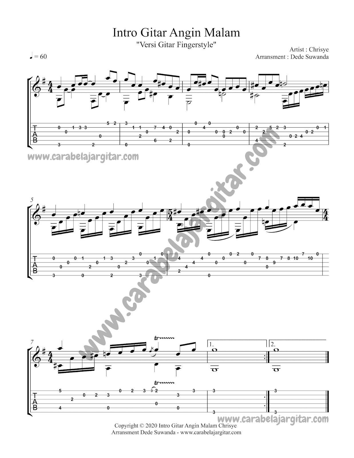 tutorial tablatur gitar dan video intro gitar lagu angin malam dari penyanyi Chrisye