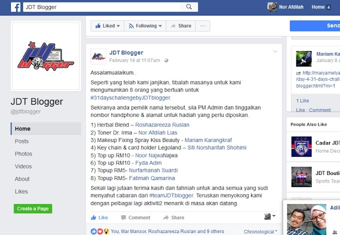 31 Days Challenge bu JDT Blogger :: Menang 2nd Prize