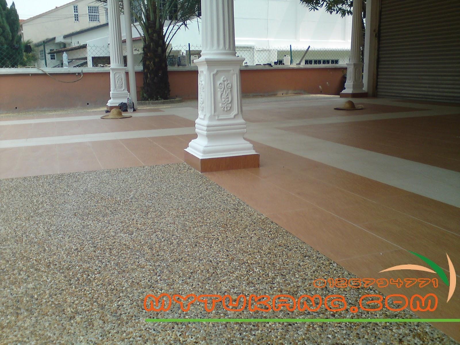 Membuat Kerja Konkrit Lantai Memasang Batu Kacang Pebble Wash