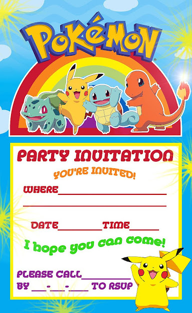 Pokemon Coloring Pages Pokemon Pikachu Party Invite