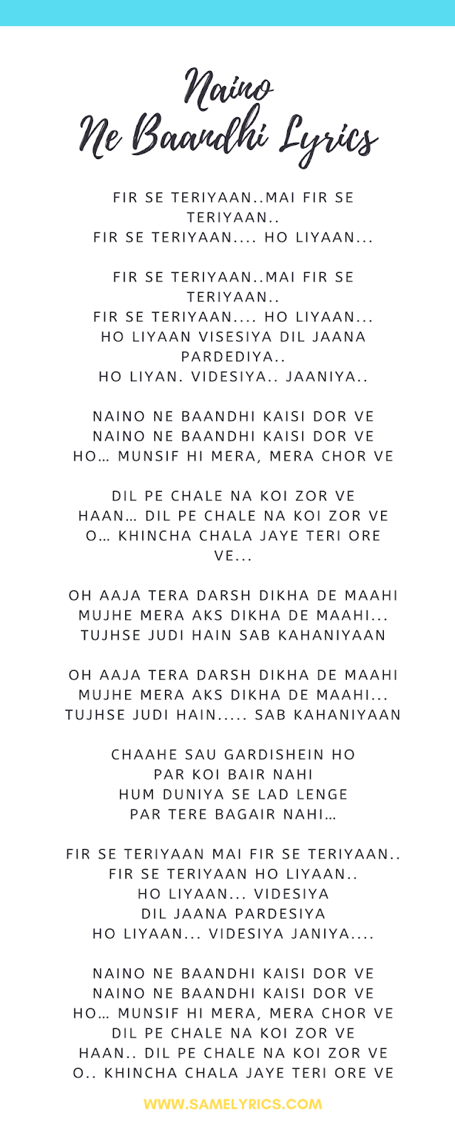 Naino Ne Baandhi Female Version Lyrics