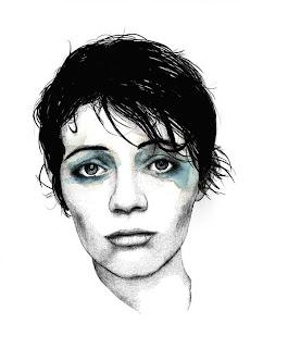 Mujer triste retrato acuarela