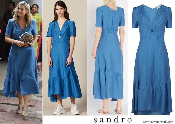 Queen Maxima wore Sandro Blue Ring Detail Midi Dress