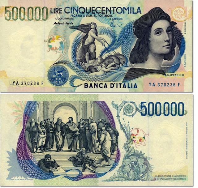 Портреты  итальянских художников на банкнотах