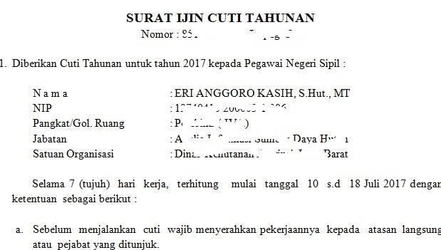 Ilustrasi izin cuti yang diberikan kepada seorang PNS.