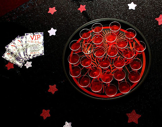 rockstar party, shots, black & red, rocker birthday party, VIP pass