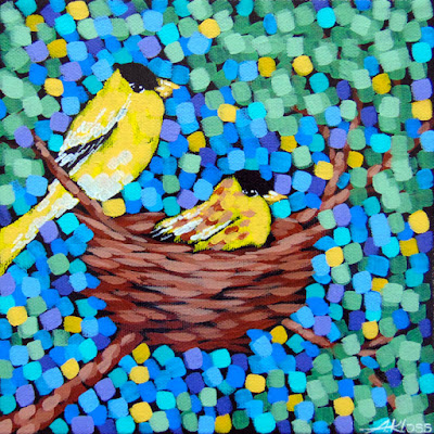 Goldfinch nest painting by artist aaron kloss, painting of birds, goldfinch painting, pointillism, duluth painter, duluth artist, minnesota landscapes, minnesota birds