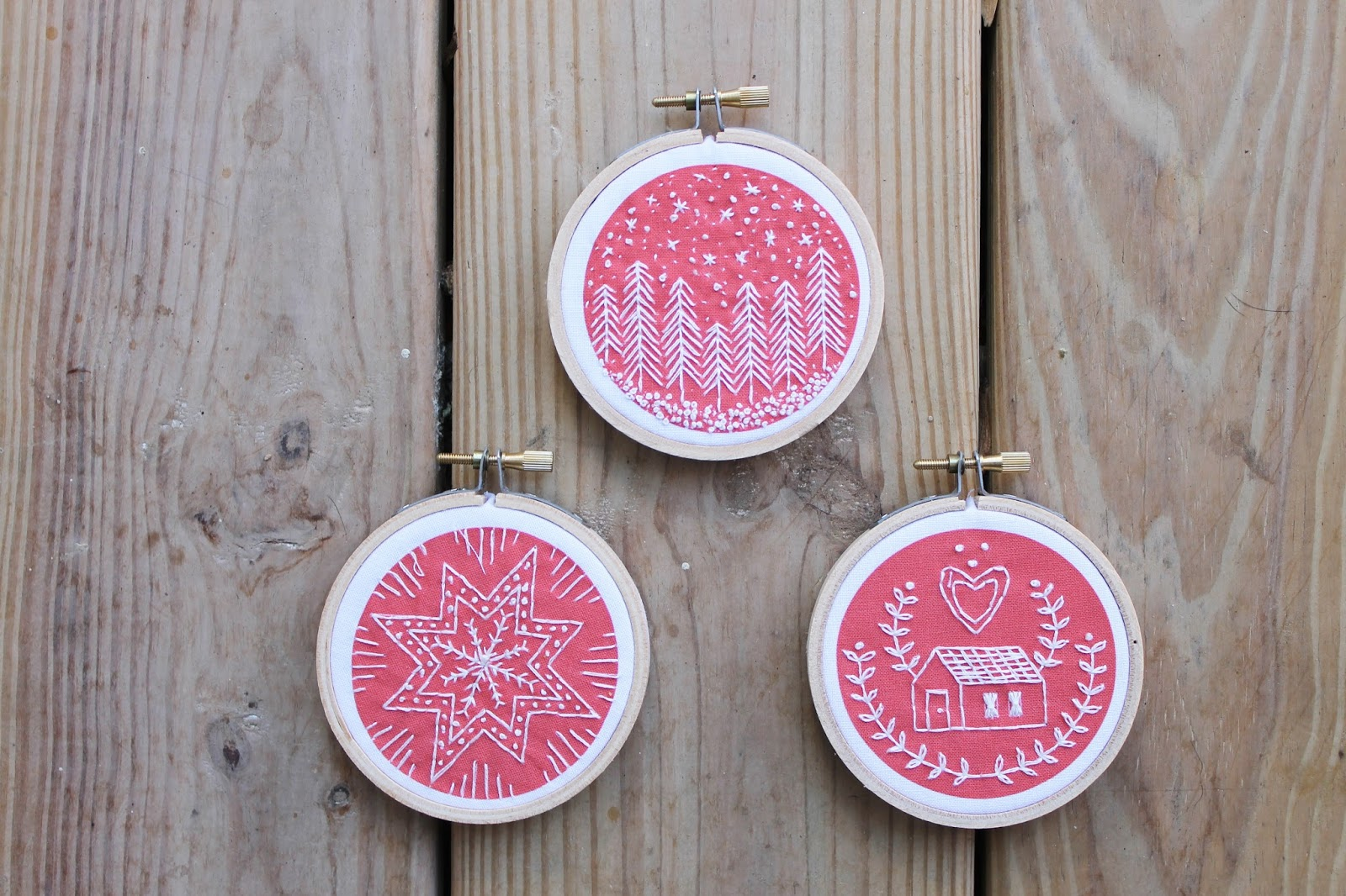 pattern diy holiday ornament embroidery kit by cozyblue - Embroidered Christmas Ornaments