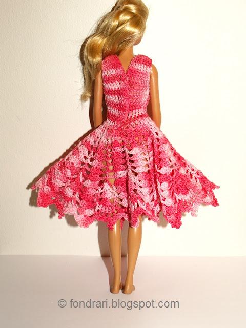 Heklaður Barbie kjóll bak