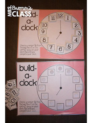 Build a Clock: Students use numbers with Velcro to make clocks {a free download!}