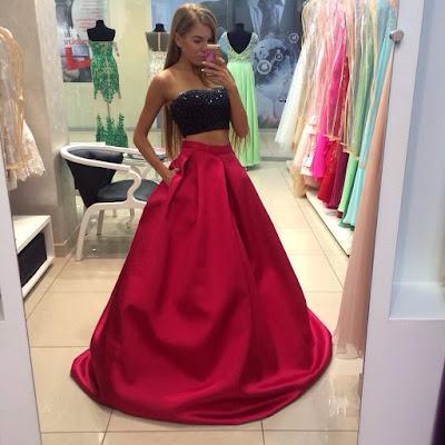 vestido de graduacion rojo