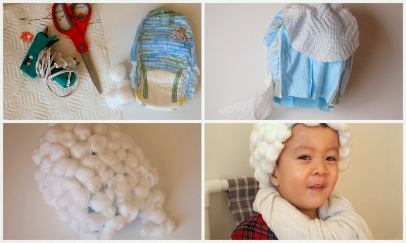 Steps to make George Washington Wig using diaper and cotton balls