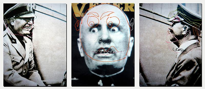 Photographies de Mussolini et Hitler rebrodées d'un dessin d'enfant