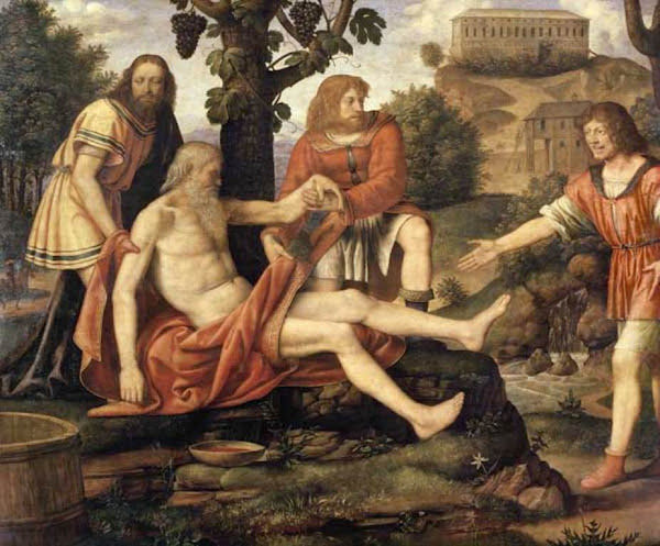 Drunkenness of Noah by Bernardino Luini, Illustrated Bible Stories, Old Testament Stories, Religious art, Sacred art, Hebrew events