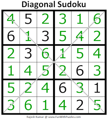 Answer of 6x6 Diagonal Sudoku Puzzle (Mini Sudoku Series #115)