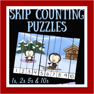 winter skip counting puzzles 1s, 2s, 5s, 10s