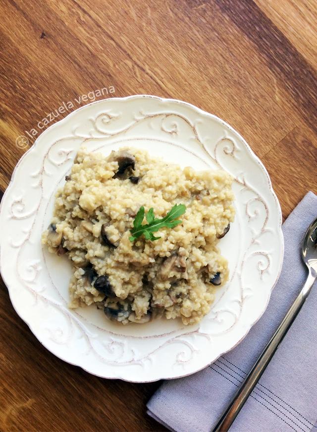 Risotto vegano de mijo, setas y coliflor