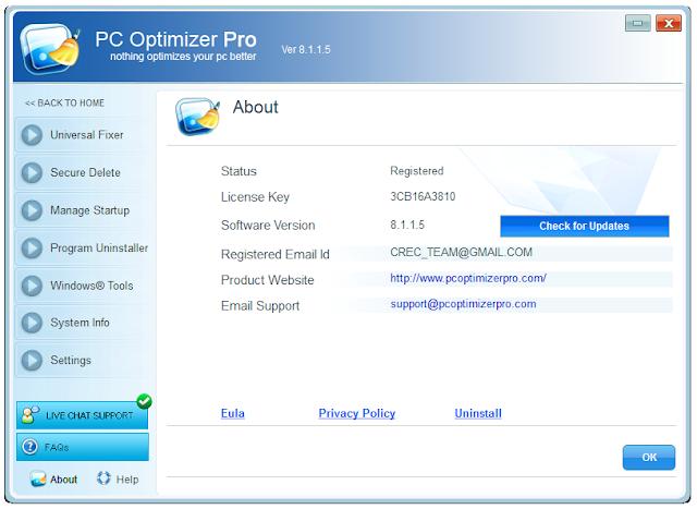 Screenshot PC Optimizer Pro 8.1.1.5 Full Version
