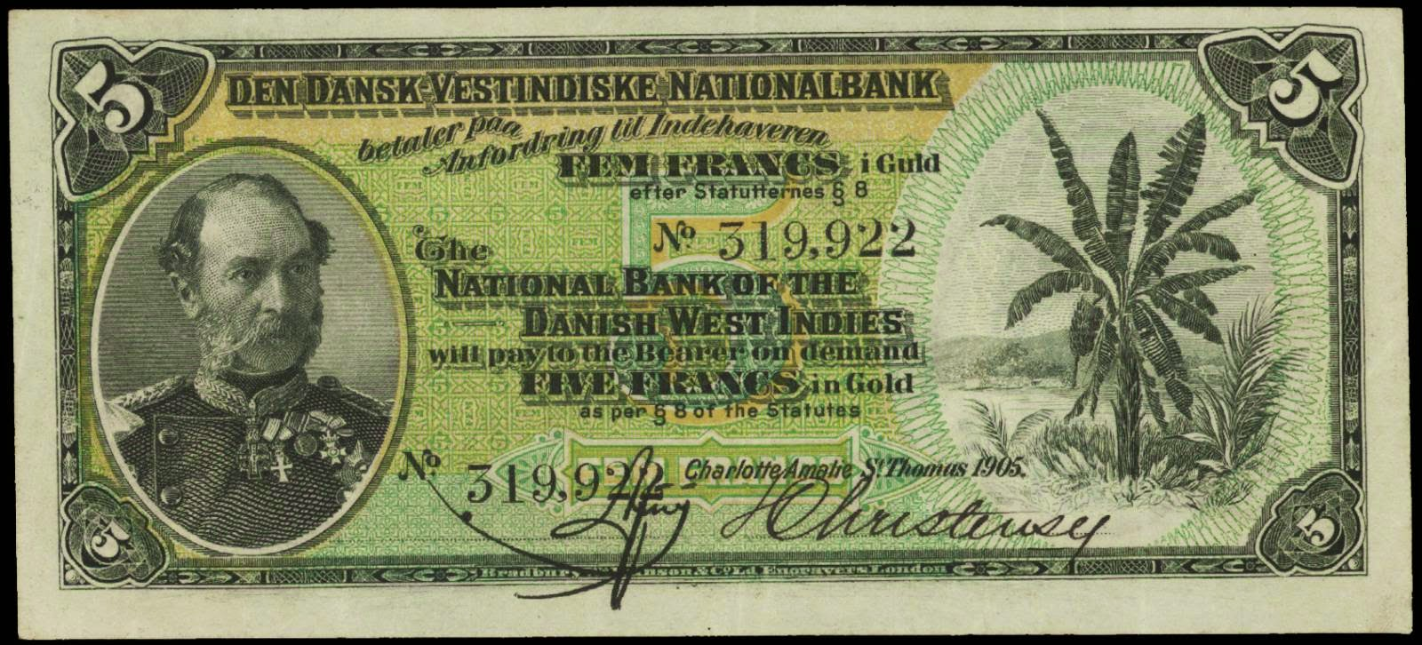 Danish West Indies banknotes 5 Francs Gold note 1905 King Christian