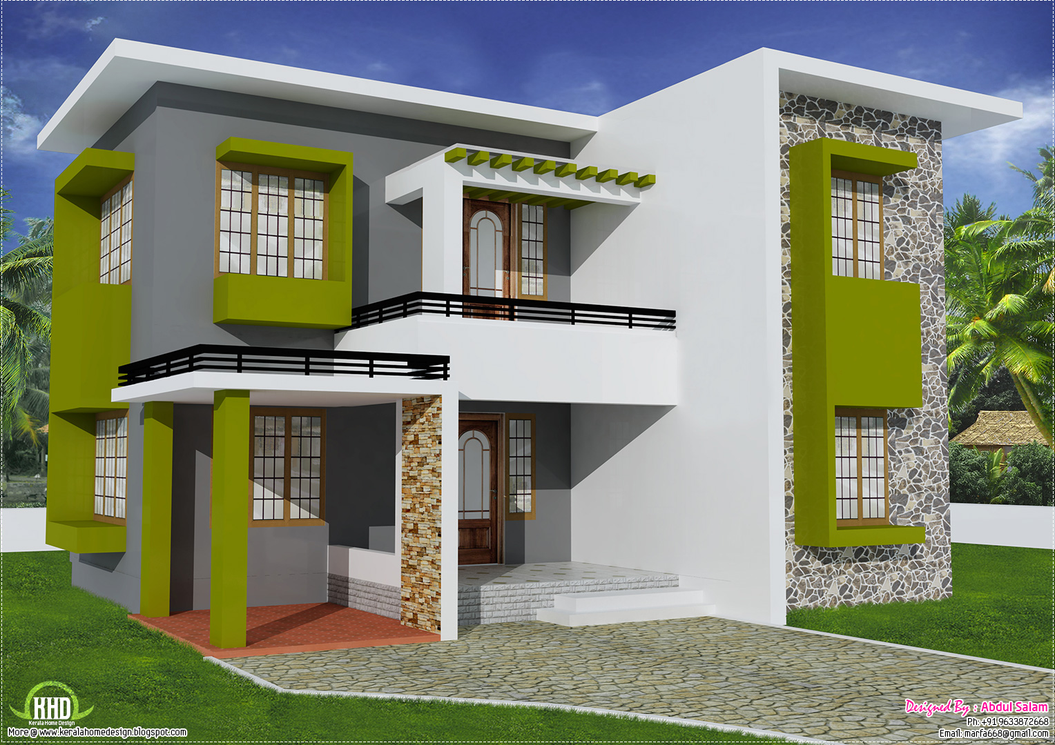 1700 flat roof home design kerala home design for 1700 feet to meters