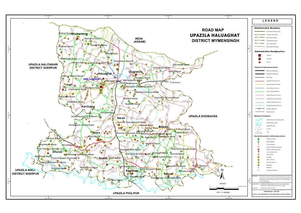 Haluaghat Upazila Road Map Mymensingh District Bangladesh
