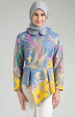 model atasan batik wanita muslimah lengan panjang