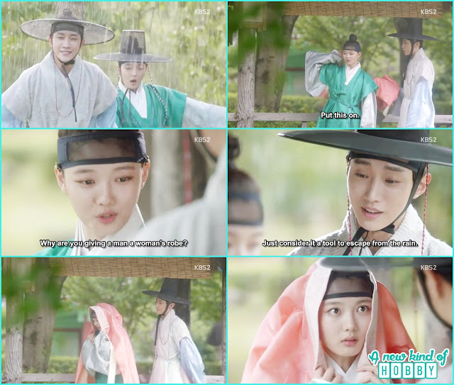 Yoon sung put a women gown on ra on when its raining - Love in The Moonlight - Episode 4 Review