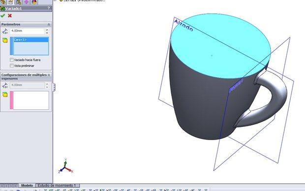 Operacion de vaciado de la superficie superior de la taza