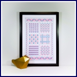 Modern geometric cross stitch sampler A4 print and stitch on card paper pricking hand embroidery pattern for picture making.