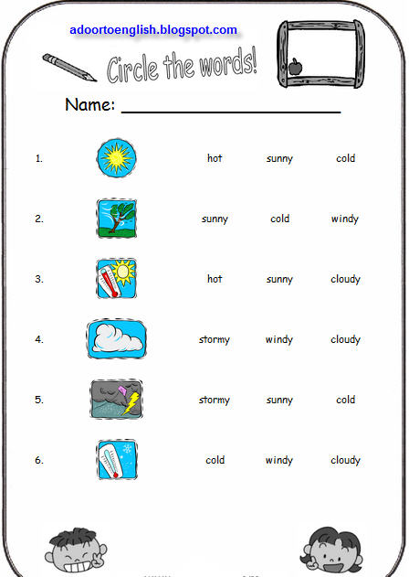 A Door To English: Weather Worksheets