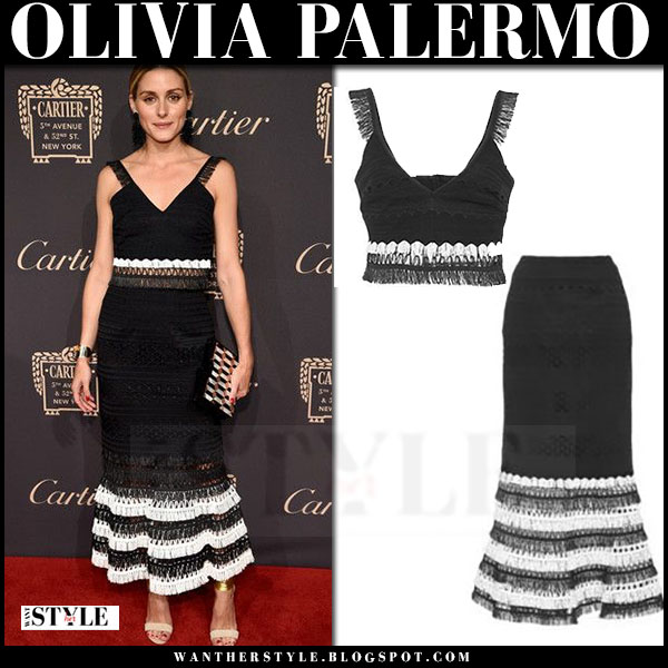 Olivia Palermo in black macrame top and matching macrame trumpet midi skirt jonathan simkhai what she wore